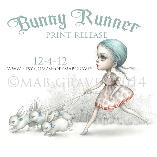 The Bunny Runner - new print coming the mabgraves Etsy shop 12-4-12